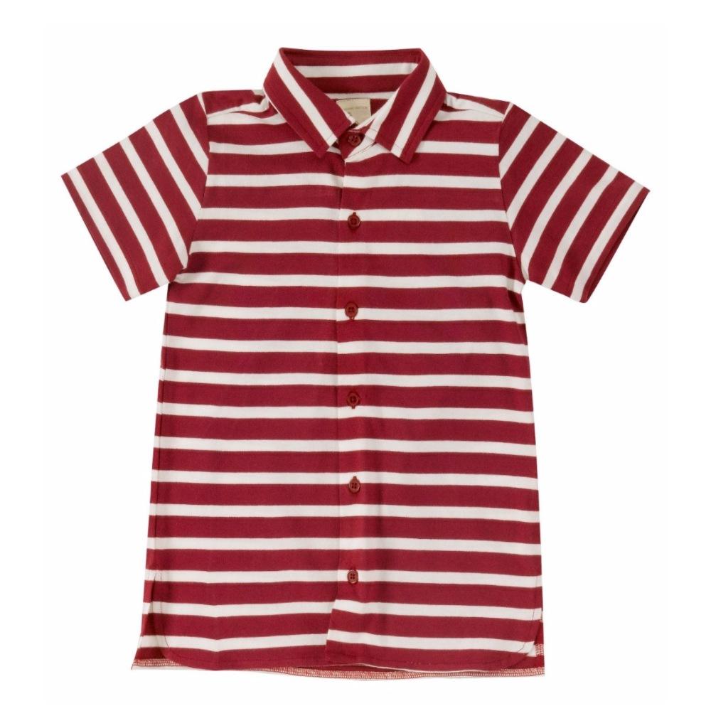 Οργανικό ριγέ πουκάμισο κόκκινο Pigeon - Mamasaid.gr 5a5627177b1
